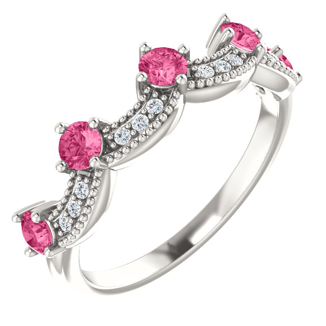 Great Deal in Sterling Silver Pink Tourmaline & .06 Carat Total Weight Diamond Crown Ring