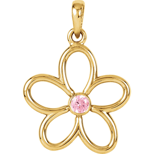 Chic 14 Karat Yellow Gold Pink Tourmaline Flower 18