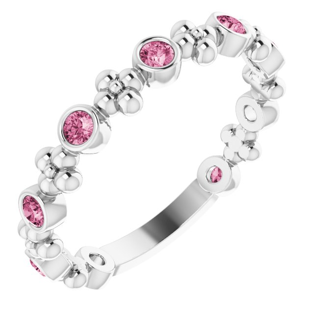 Pink Tourmaline Ring in Sterling Silver Pink Tourmaline Beaded Ring