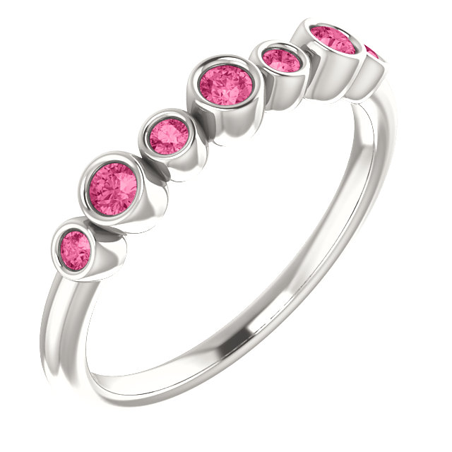 Contemporary Sterling Silver Pink Tourmaline Bezel-Set Ring