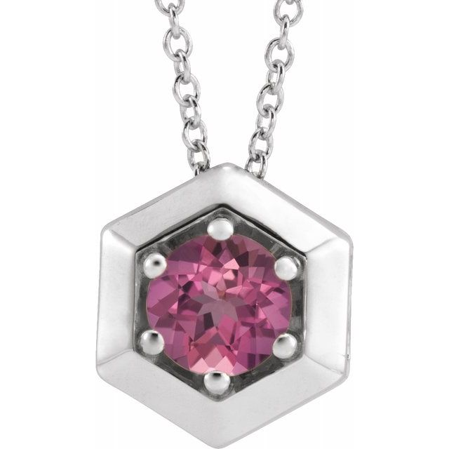 Pink Tourmaline Necklace in Sterling Silver Pink Tourmaline Geometric 16-18