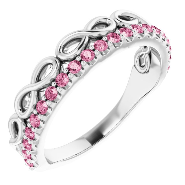 Pink Tourmaline Ring in Sterling Silver Pink Tourmaline Infinity-Inspired Stackable Ring