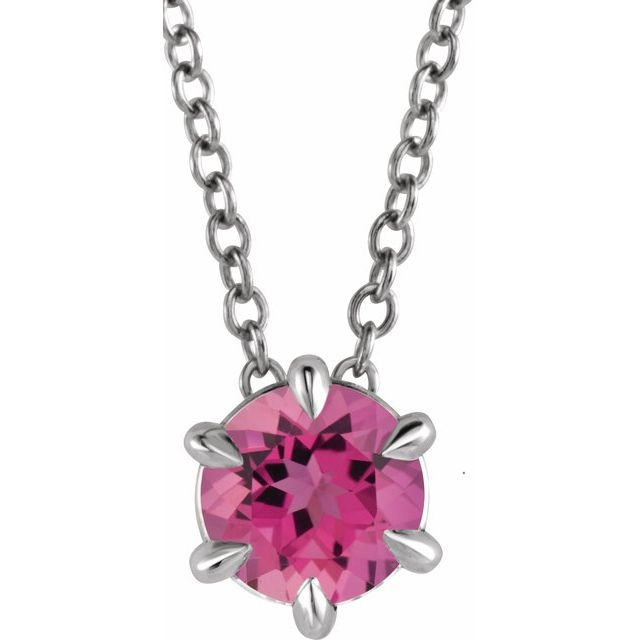 Pink Tourmaline Necklace in Sterling Silver Pink Tourmaline Solitaire 16-18