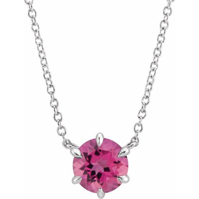 Pink Tourmaline Necklace in Sterling Silver Pink Tourmaline Solitaire 18
