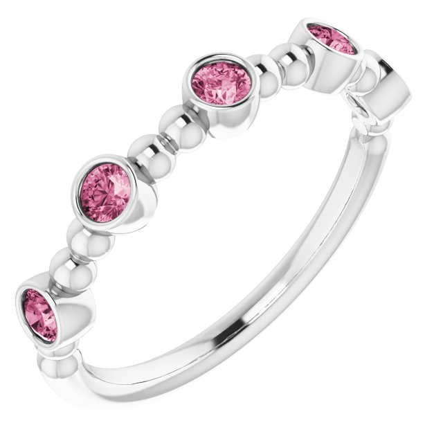 Pink Tourmaline Ring in Sterling Silver Pink Tourmaline Stackable Beaded Ring