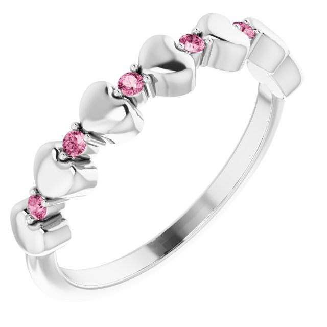 Pink Tourmaline Ring in Sterling Silver Pink Tourmaline Stackable Heart Ring