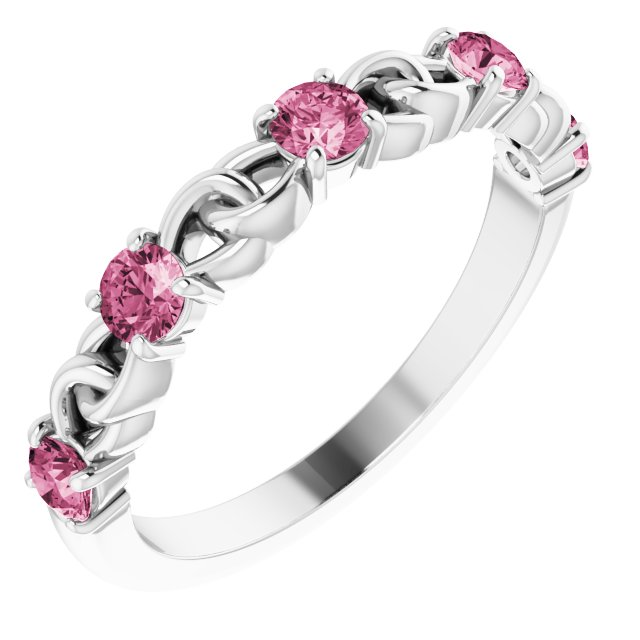Pink Tourmaline Ring in Sterling Silver Pink Tourmaline Stackable Link Ring