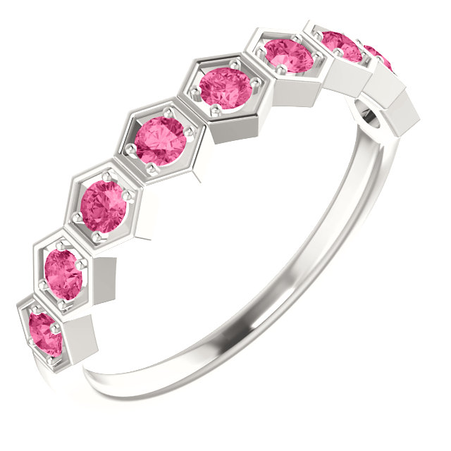 Easy Gift in Sterling Silver Pink Tourmaline Stackable Ring