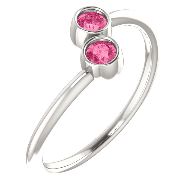 Great Buy in Sterling Silver Pink Tourmaline Two-Stone Ring
