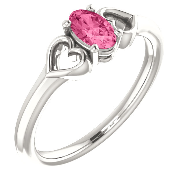Perfect Jewelry Gift Sterling Silver Pink Tourmaline Youth Heart Ring