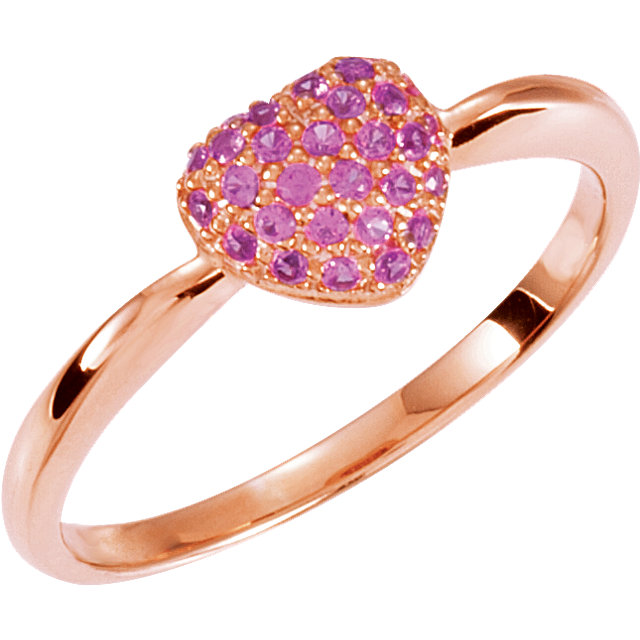 Surprise Her with  Sterling Silver Plated with Rose Pink Sapphire Heart Ring Size 8
