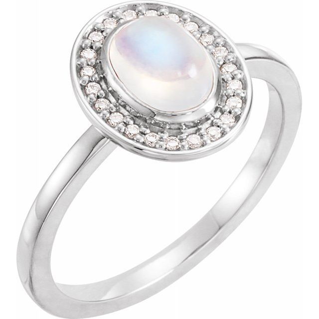 Moonstone Ring in Sterling Silver Rainbow Moonstone & 1/10 Carat Diamond Halo-Style Ring