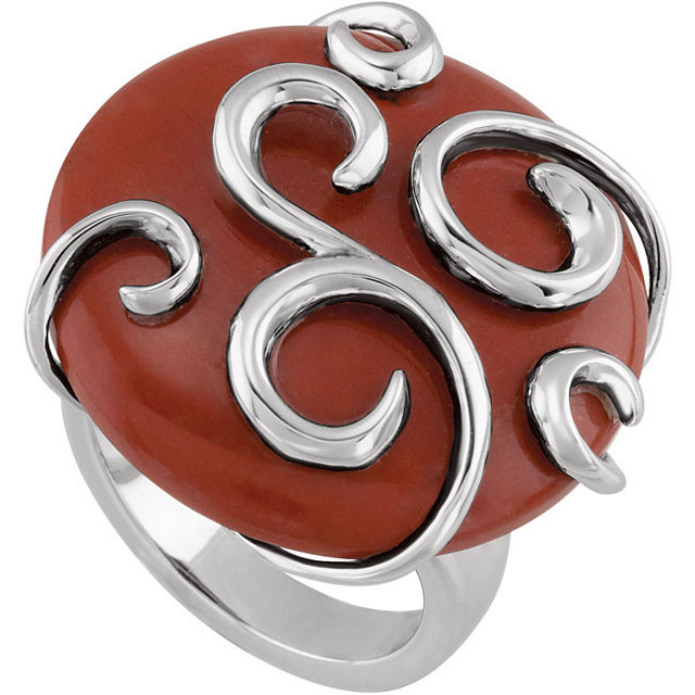 Sterling Silver Red Tiger's Eye Scroll Ring