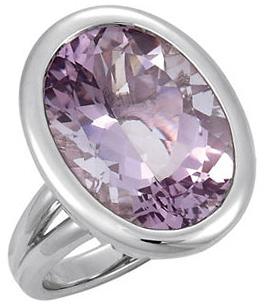 Sterling Silver Rose De France Quartz Bezel-Set Ring