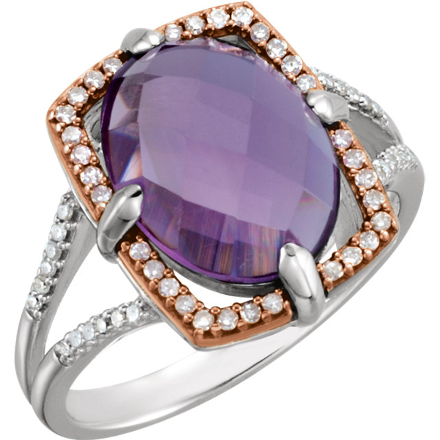 Fine Quality 14 Karat Rose Gold Gold-Plated Sterling Silver Amethyst & 0.20 Carat Total Weight Diamond Ring Size 8