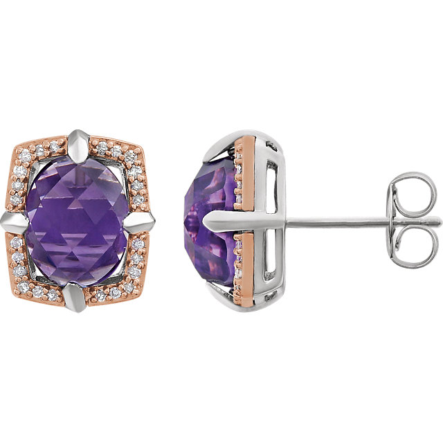 Must See 14 Karat Rose Gold Gold-Plated Sterling Silver Amethyst & 0.17 Carat Total Weight Diamond Earrings