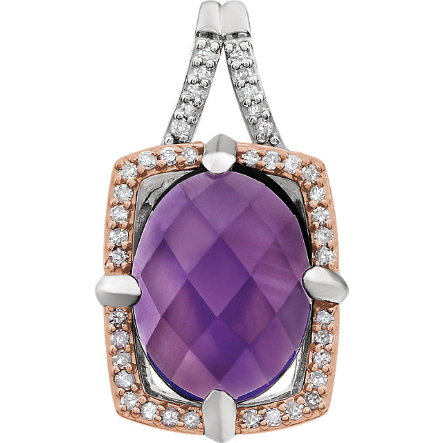 Graceful Sterling Silver Rose Gold Plated Oval Genuine Amethyst & 1/6 Carat Total Weight Diamond Pendant