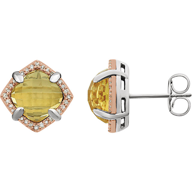 Contemporary 14 Karat Rose Gold Gold-Plated Sterling Silver Citrine & 0.17 Carat Total Weight Diamond Earrings
