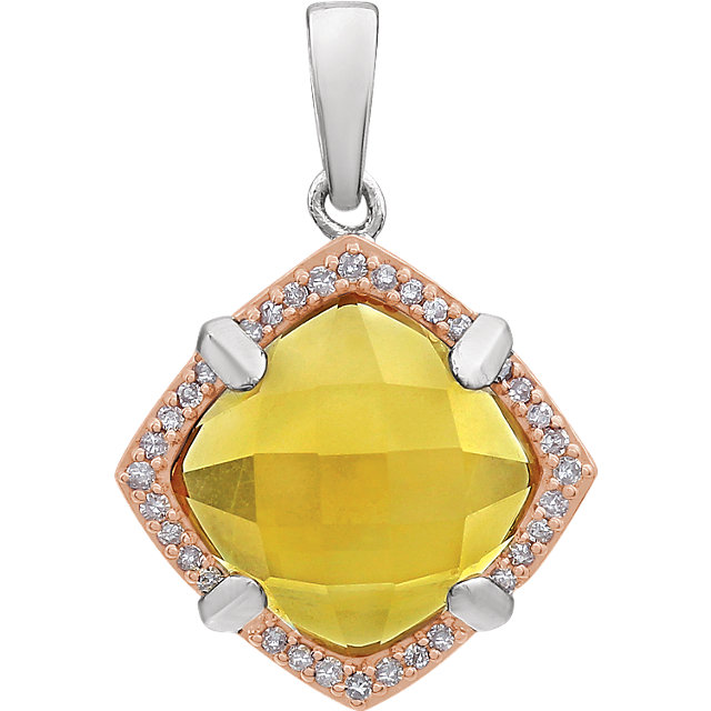 Genuine Sterling Silver Rose Gold Plated Citrine & 0.12 Carat Diamond Pendant