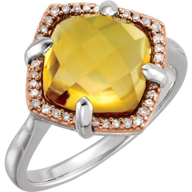 Fabulous 14 Karat Rose Gold Gold-Plated Sterling Silver Cushion Genuine Citrine & 1/8 Carat Total Weight Diamond Ring Size 6