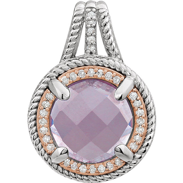 Great Deal in Sterling Silver Rose Gold Plated Rose Quartz & 0.12 Carat Total Weight Diamond Pendant