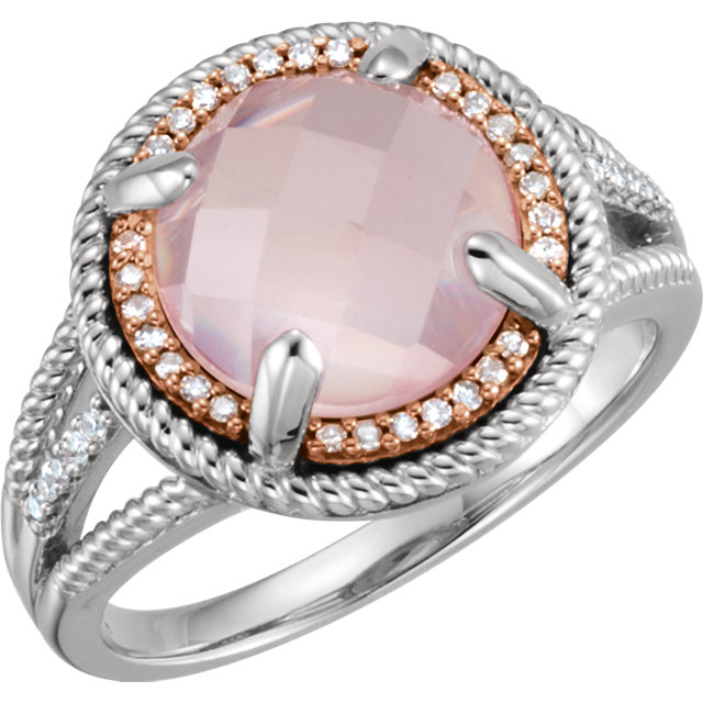 Beautiful 14 Karat Rose Gold Gold-Plated Sterling Silver Rose Quartz & 0.12 Carat Total Weight Diamond Ring