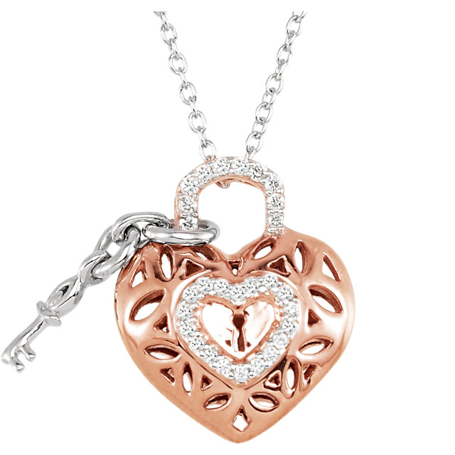Great Gift in 14 Karat Rose Gold Gold-Plated Sterling Silver 0.17 Carat Total Weight Diamond Heart 18