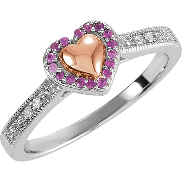 Sterling Silver Rose Plated Pink Sapphire & .02 Carat Total Weight Diamond Puffed Heart Ring Size 7