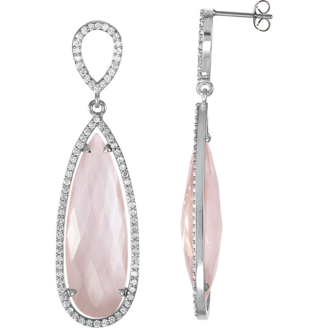 Great Buy in Sterling Silver Rose Quartz & 0.75 Carat Total Weight Diamond Earrings
