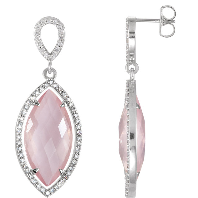 Perfect Jewelry Gift Sterling Silver Rose Quartz & Diamond Halo-Style Earrings