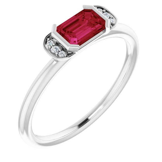 Genuine Ruby Ring in Sterling Silver Ruby & .02 Carat Diamond Stackable Ring