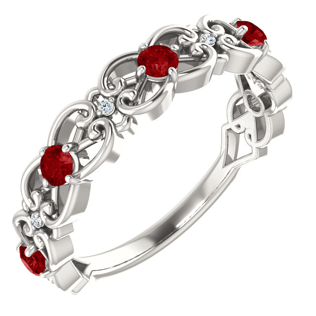 Sterling Silver Ruby & .025 Carat Diamond Vintage-Inspired Scroll Ring