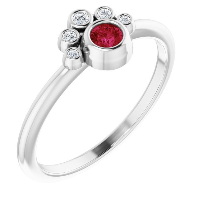 Genuine Ruby Ring in Sterling Silver Ruby & .04 Carat Diamond Ring
