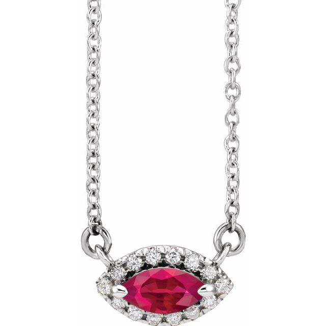 Genuine Ruby Necklace in Sterling Silver Ruby & .05 Carat Diamond Halo-Style 18