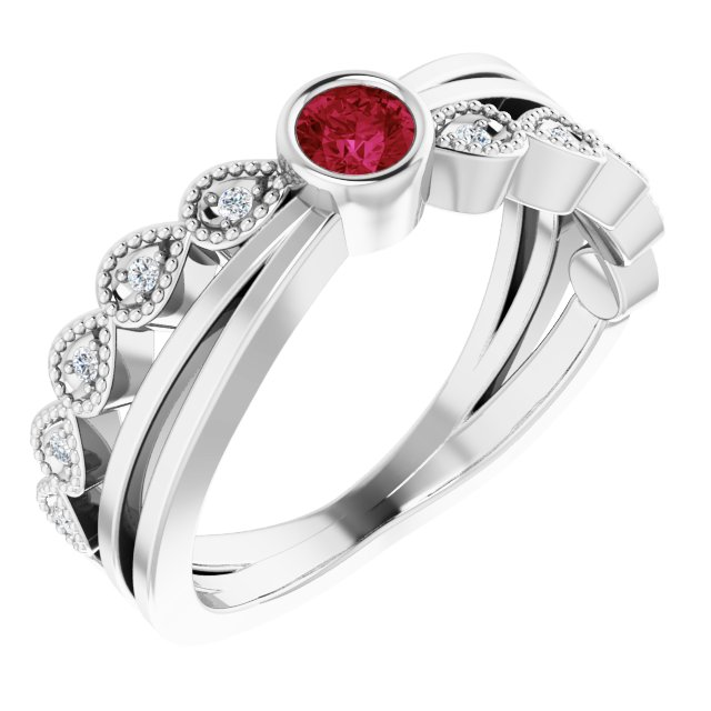 Genuine Ruby Ring in Sterling Silver Ruby & .05 Carat Diamond Ring