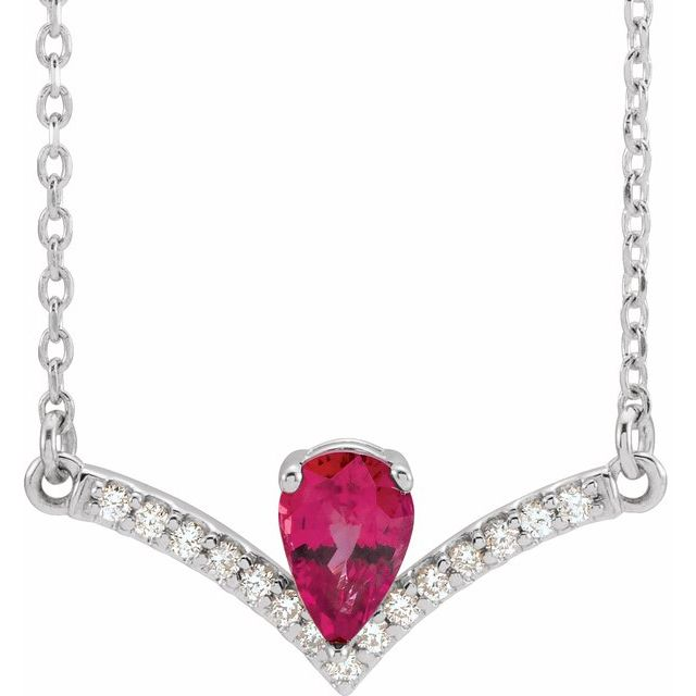 Genuine Ruby Necklace in Sterling Silver Ruby & .06 Carat Diamond 16