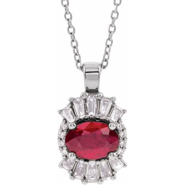 Genuine Ruby Necklace in Sterling Silver Ruby & 1/3 Carat Diamond 16-18