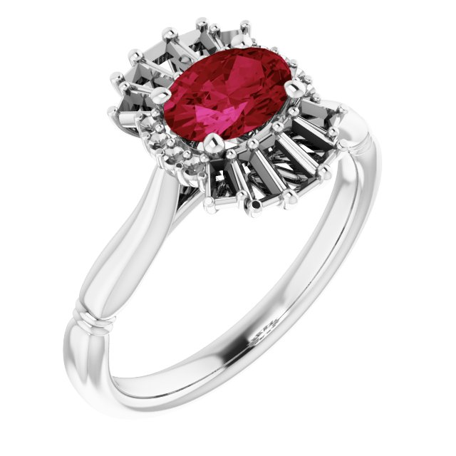 Genuine Ruby Ring in Sterling Silver Ruby & 1/4 Carat Diamond Ring