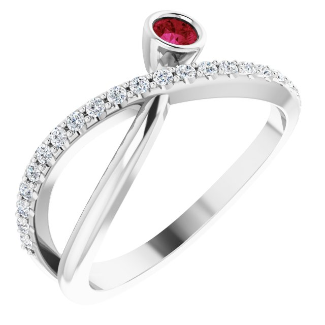 Genuine Ruby Ring in Sterling Silver Ruby & 1/5 Carat Diamond Ring