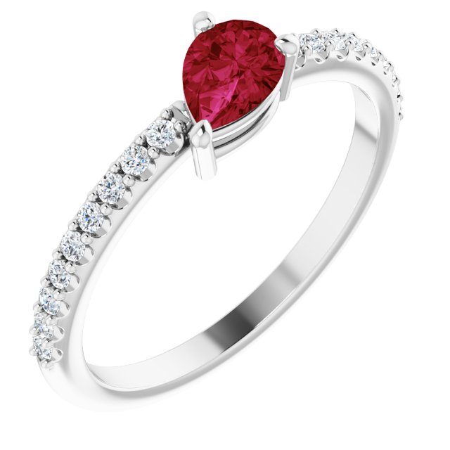 Genuine Ruby Ring in Sterling Silver Ruby & 1/6 Carat Diamond Ring