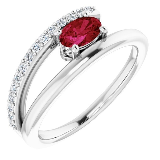 Genuine Ruby Ring in Sterling Silver Ruby & 1/8 Carat Diamond Ring
