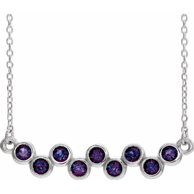 Natural Alexandrite Necklace in Sterling Silver Ruby Bezel-Set Bar 16-18
