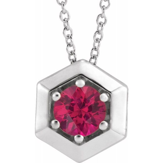 Genuine Ruby Necklace in Sterling Silver Ruby Geometric 16-18
