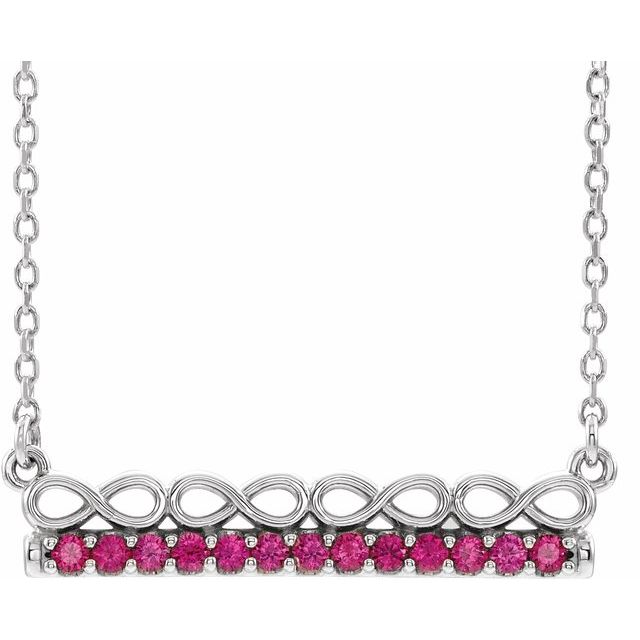 Genuine Ruby Necklace in Sterling Silver Ruby Infinity-InspiGenuine Bar 18