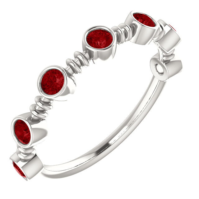 Contemporary Sterling Silver  Ruby Ring