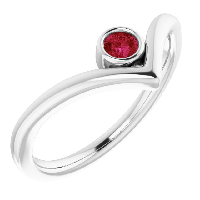 Genuine Ruby Ring in Sterling Silver Ruby Solitaire Bezel-Set