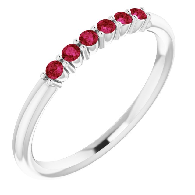 Genuine Ruby Ring in Sterling Silver Ruby Stackable Ring