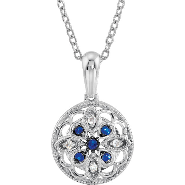 Buy Sterling Silver Blue Sapphire & .03 Carat Diamond 18