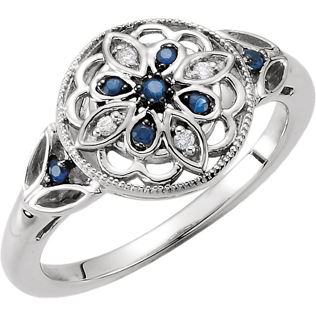 Great Deal in Sterling Silver Sapphire & .03 Carat Total Weight Diamond Ring Size 6