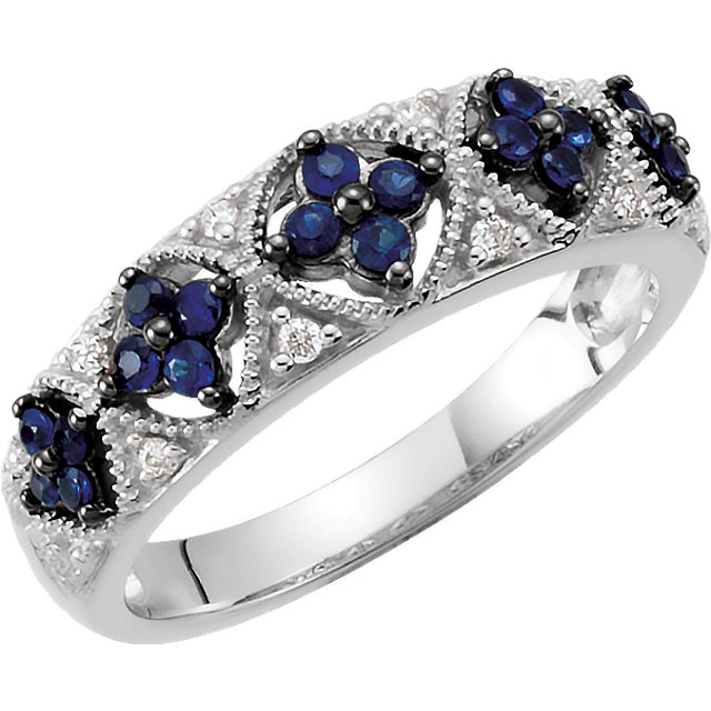 Easy Gift in Sterling Silver Sapphire & .05 Carat Total Weight Diamond Ring Size 6